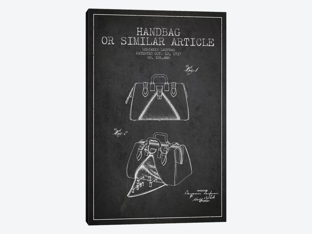 Handbag Similar Article Charcoal Patent Blueprint by Aged Pixel 1-piece Art Print