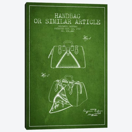 Handbag Similar Article Green Patent Blueprint Canvas Print #ADP349} by Aged Pixel Canvas Art