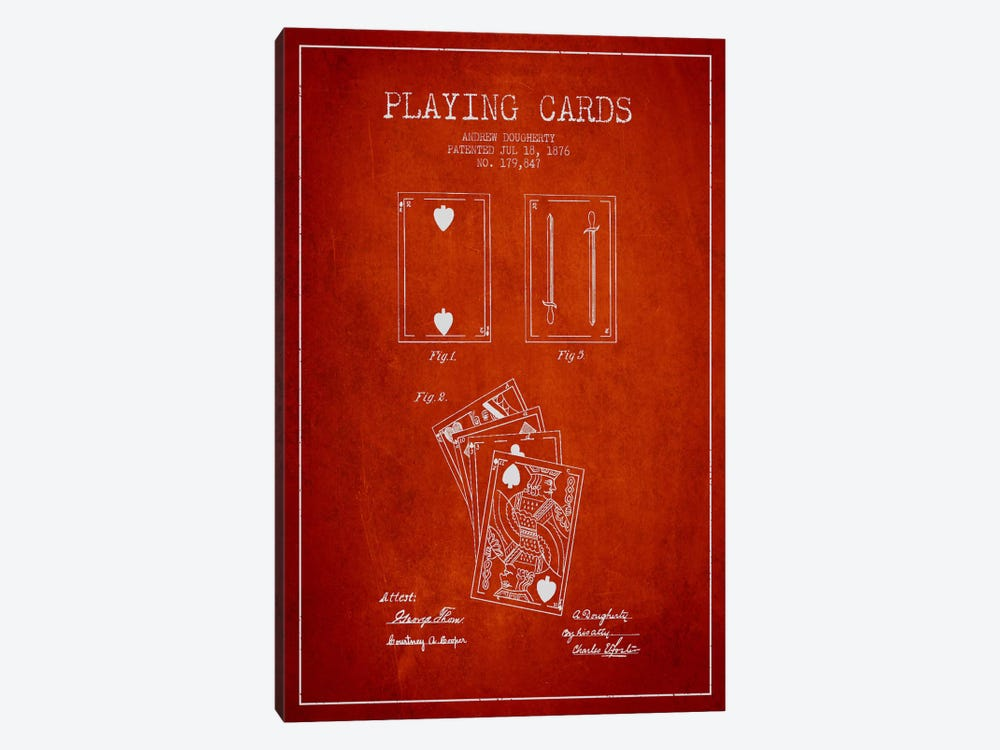 Dougherty Cards Red Patent Blueprint by Aged Pixel 1-piece Canvas Art