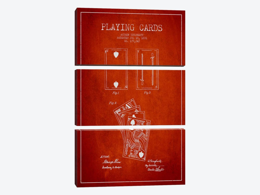 Dougherty Cards Red Patent Blueprint by Aged Pixel 3-piece Canvas Art