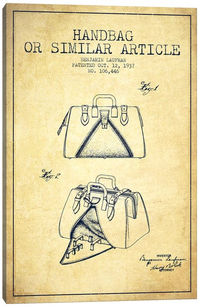 Handbag Similar Article Vintage Patent Blueprint Canvas Art Print