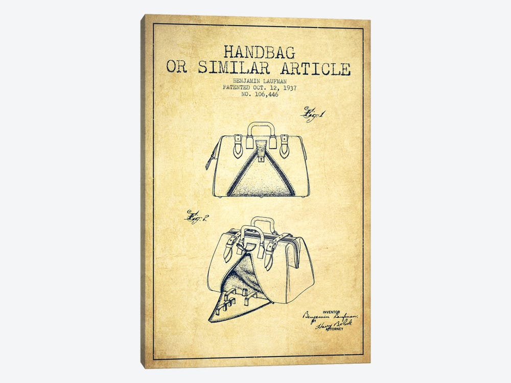 Handbag Similar Article Vintage Patent Blueprint by Aged Pixel 1-piece Canvas Art