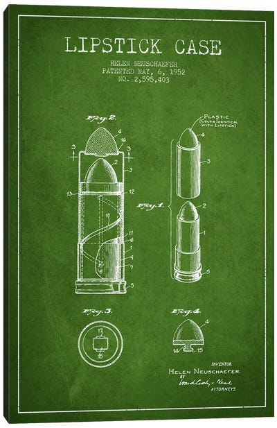 Lipstick Case Green Patent Blueprint Canvas Art Print