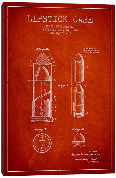 Lipstick Case Red Patent Blueprint Canvas Art Print