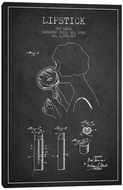 Lipstick Charcoal Patent Blueprint Canvas Art Print