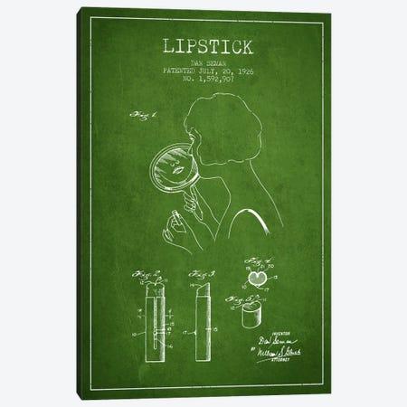 Lipstick Green Patent Blueprint Canvas Print #ADP359} by Aged Pixel Canvas Print