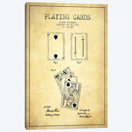 Dougherty Cards Vintage Patent Blueprint Canvas Print #ADP35} by Aged Pixel Canvas Art