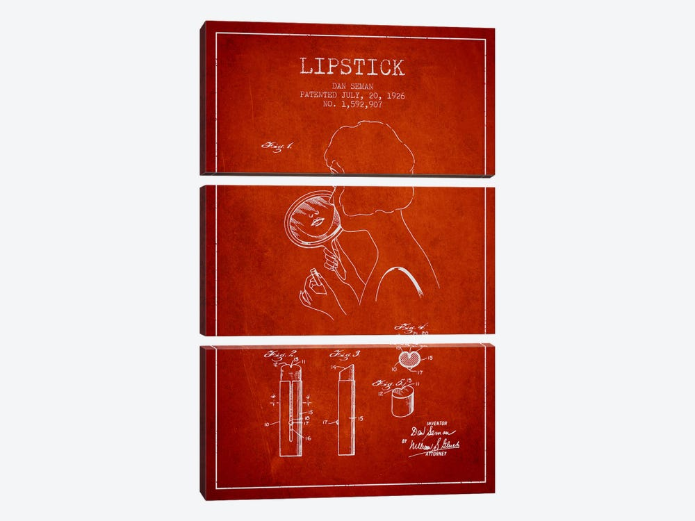 Lipstick Red Patent Blueprint by Aged Pixel 3-piece Canvas Art