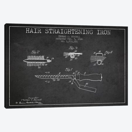 Hair Straightening Iron Charcoal Patent Blueprint Canvas Print #ADP363} by Aged Pixel Canvas Artwork