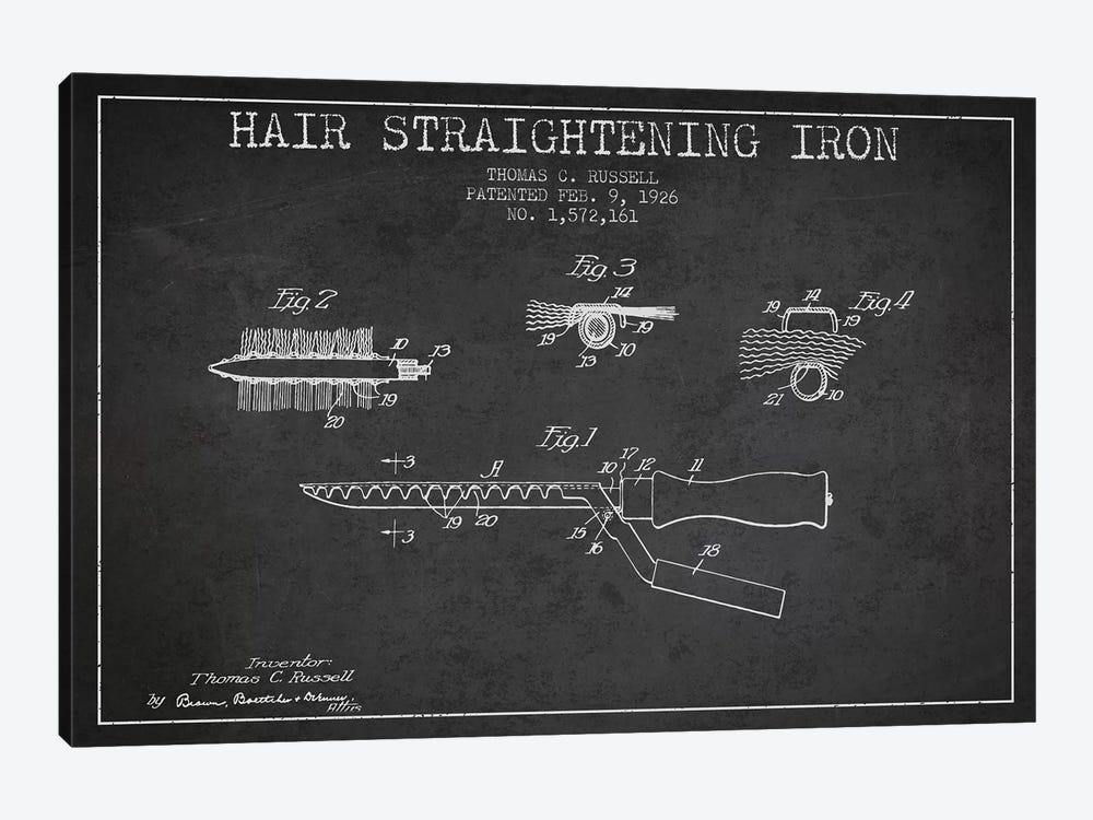 Hair Straightening Iron Charcoal Patent Blueprint by Aged Pixel 1-piece Canvas Wall Art