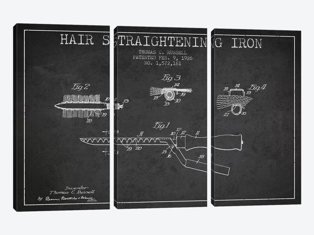 Hair Straightening Iron Charcoal Patent Blueprint by Aged Pixel 3-piece Canvas Wall Art