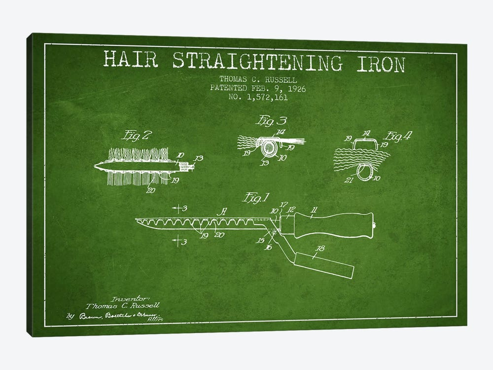 Hair Straightening Iron Green Patent Blueprint by Aged Pixel 1-piece Canvas Print