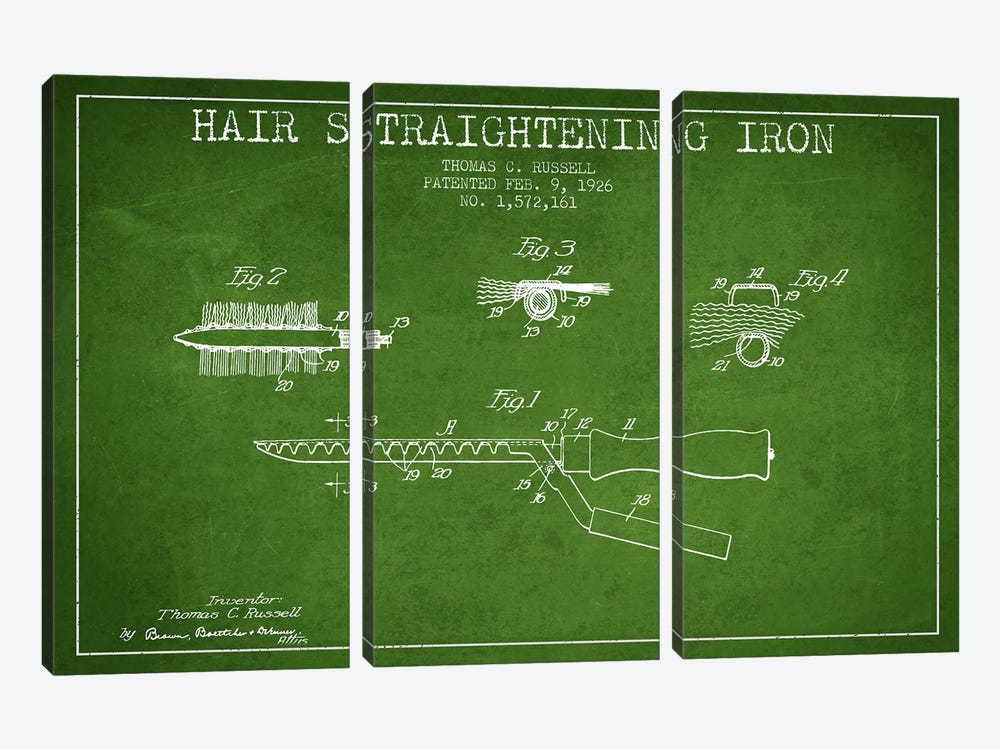 Hair Straightening Iron Green Patent Blueprint 3-piece Canvas Print