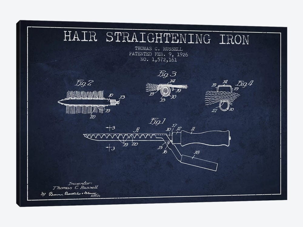 Hair Straightening Iron Navy Blue Patent Blueprint by Aged Pixel 1-piece Canvas Wall Art