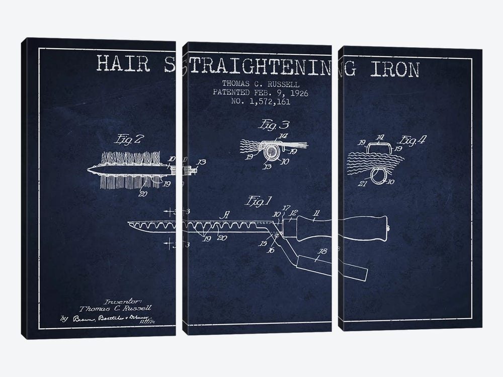 Hair Straightening Iron Navy Blue Patent Blueprint by Aged Pixel 3-piece Canvas Art