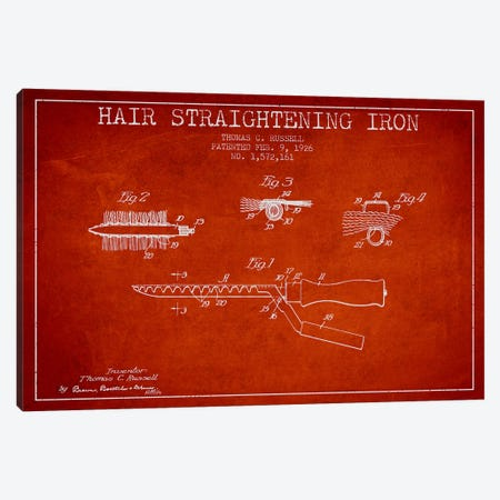 Hair Straightening Iron Red Patent Blueprint Canvas Print #ADP366} by Aged Pixel Canvas Print