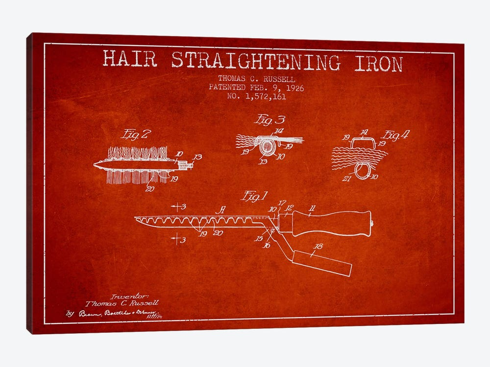 Hair Straightening Iron Red Patent Blueprint by Aged Pixel 1-piece Art Print