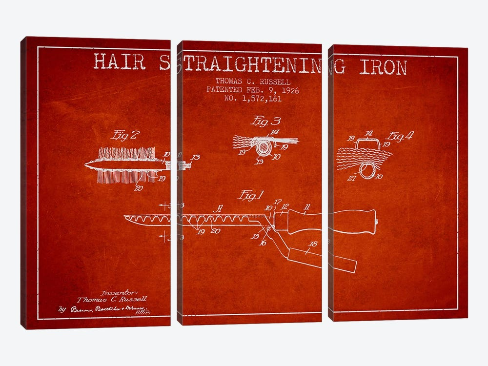 Hair Straightening Iron Red Patent Blueprint by Aged Pixel 3-piece Canvas Print