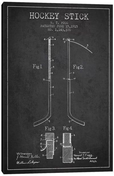Sports blueprints canvas wall art icanvas hockey stick charcoal patent blueprint canvas art print malvernweather Image collections