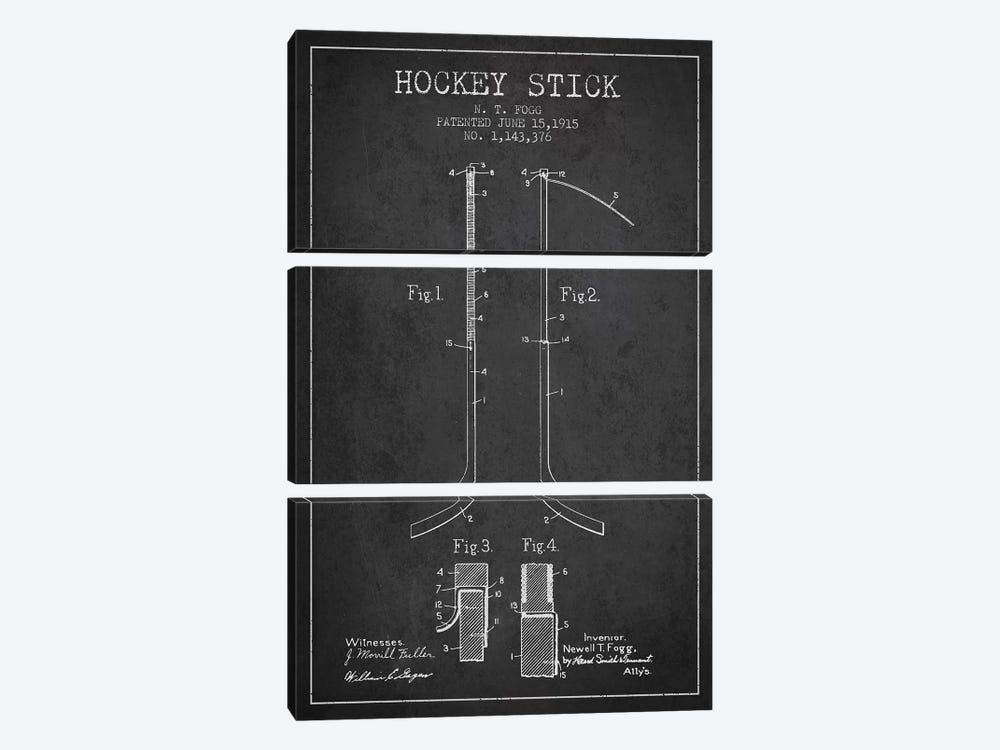 Hockey Stick Charcoal Patent Blueprint by Aged Pixel 3-piece Canvas Print