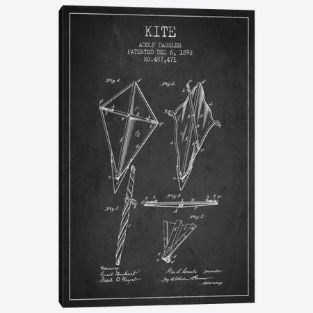 Kite Dark Patent Blueprint Canvas Print #ADP36} by Aged Pixel Canvas Wall Art