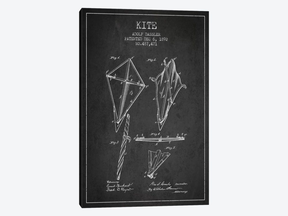 Kite Dark Patent Blueprint by Aged Pixel 1-piece Canvas Art
