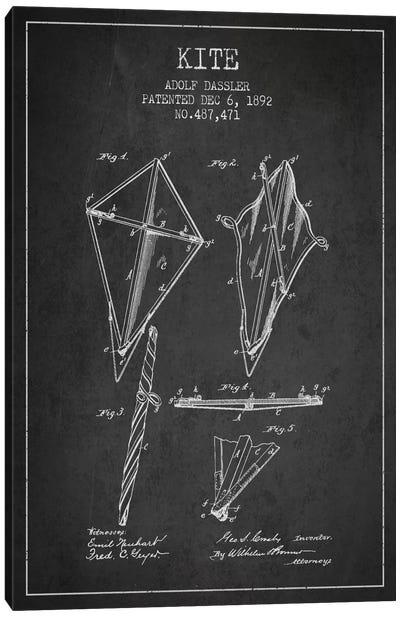 Kite Dark Patent Blueprint Canvas Art Print