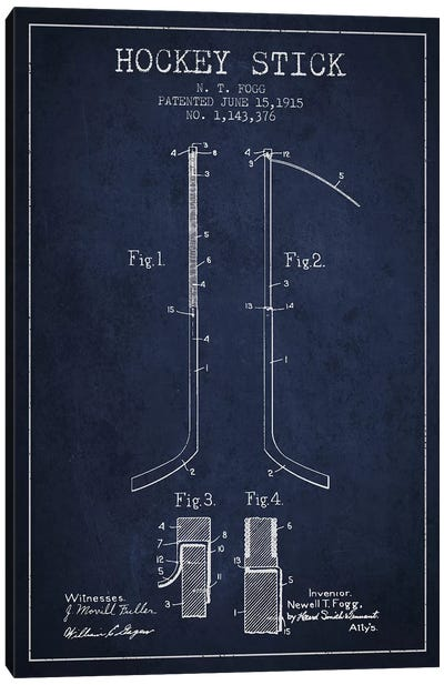 Hockey Stick Navy Blue Patent Blueprint Canvas Art Print