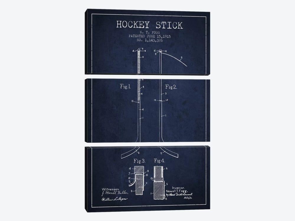 Hockey Stick Navy Blue Patent Blueprint by Aged Pixel 3-piece Canvas Wall Art
