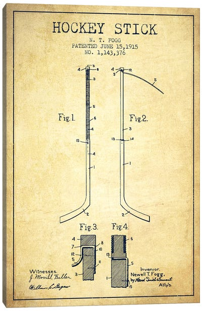 Hockey Stick Vintage Patent Blueprint Canvas Art Print