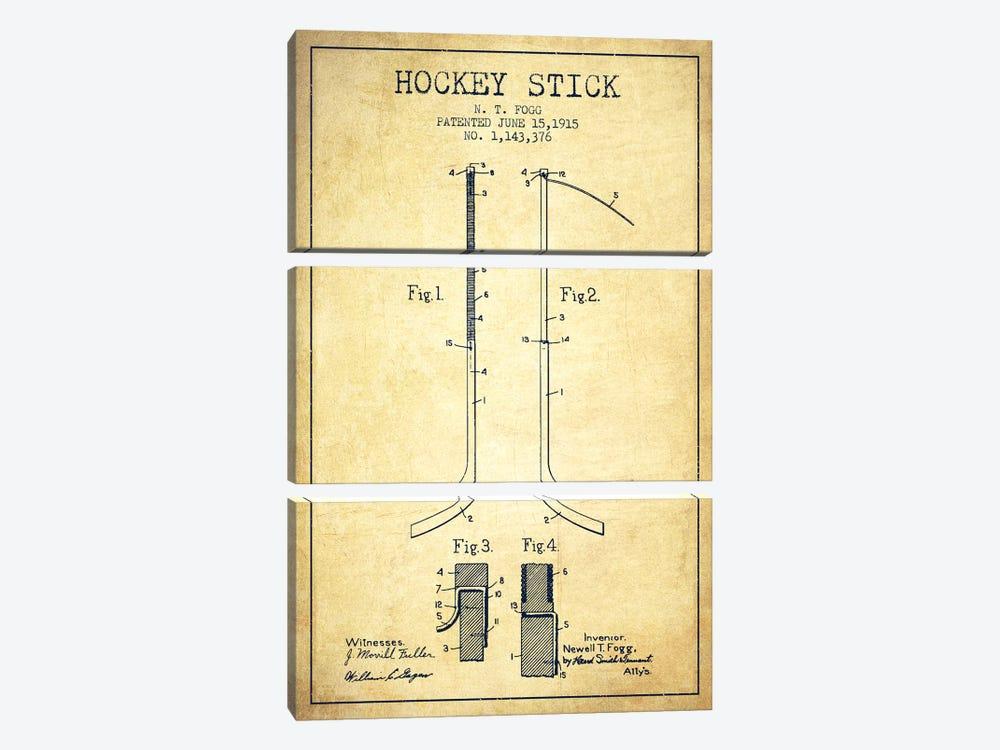 Hockey Stick Vintage Patent Blueprint by Aged Pixel 3-piece Canvas Artwork