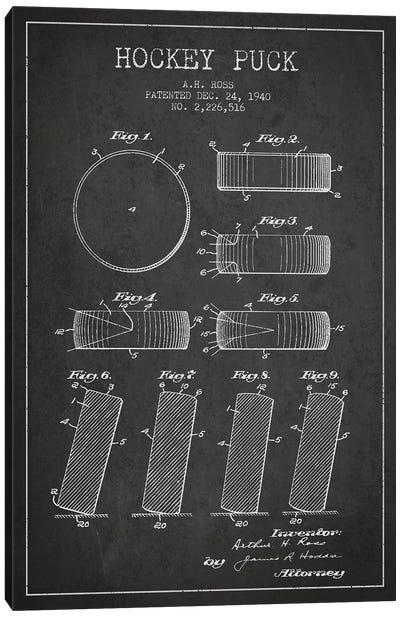Hockey Puck Charcoal Patent Blueprint Canvas Art Print
