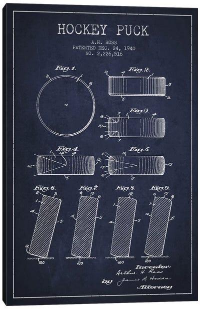 Hockey Puck Navy Blue Patent Blueprint Canvas Print #ADP375