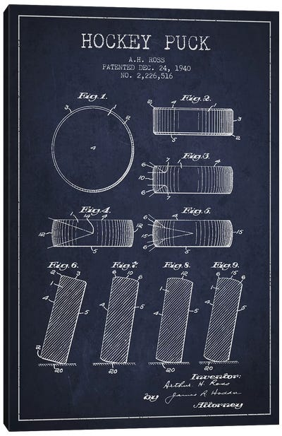 Hockey Puck Navy Blue Patent Blueprint Canvas Art Print