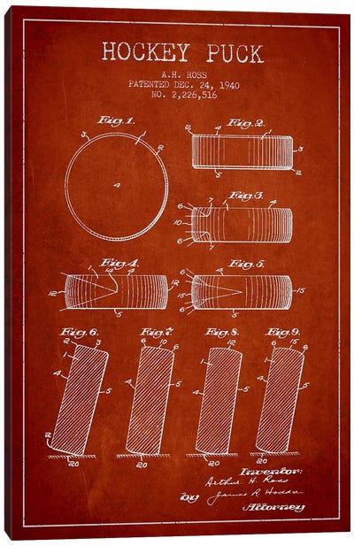 Hockey Puck Red Patent Blueprint Canvas Print #ADP376