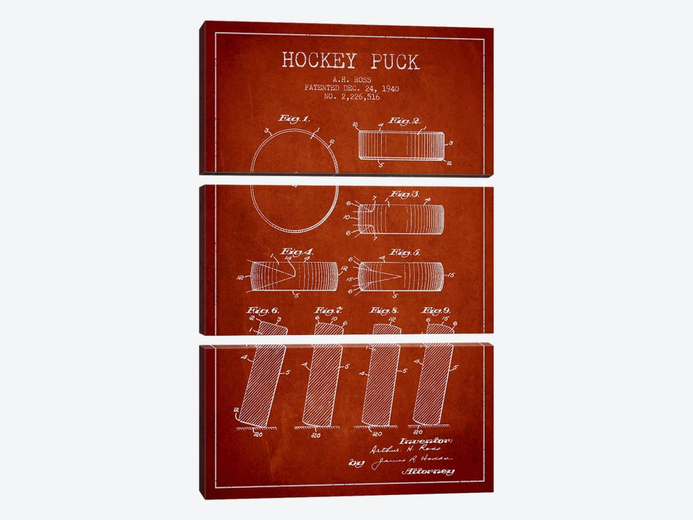 Hockey Puck Red Patent Blueprint by Aged Pixel 3-piece Canvas Wall Art