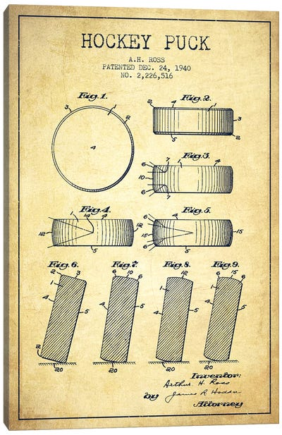 Hockey Puck Vintage Patent Blueprint Canvas Art Print