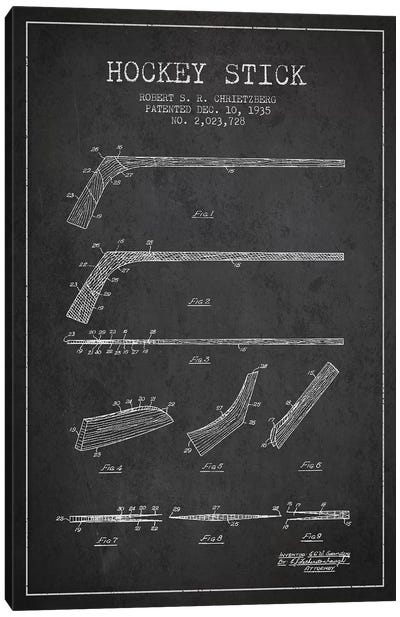 Hockey Stick Charcoal Patent Blueprint Canvas Art Print