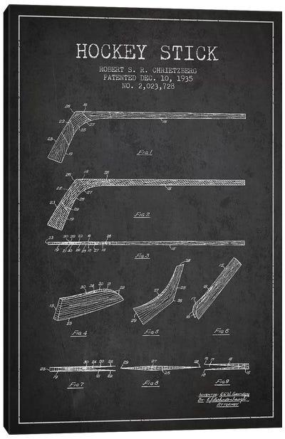 Hockey Stick Charcoal Patent Blueprint Canvas Art Print