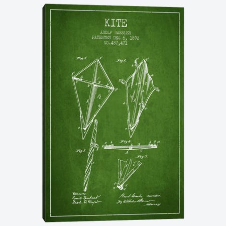 Kite Green Patent Blueprint Canvas Print #ADP37} by Aged Pixel Canvas Wall Art