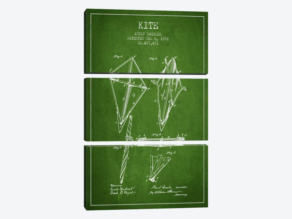 Kite Green Patent Blueprint by Aged Pixel 3-piece Canvas Art Print