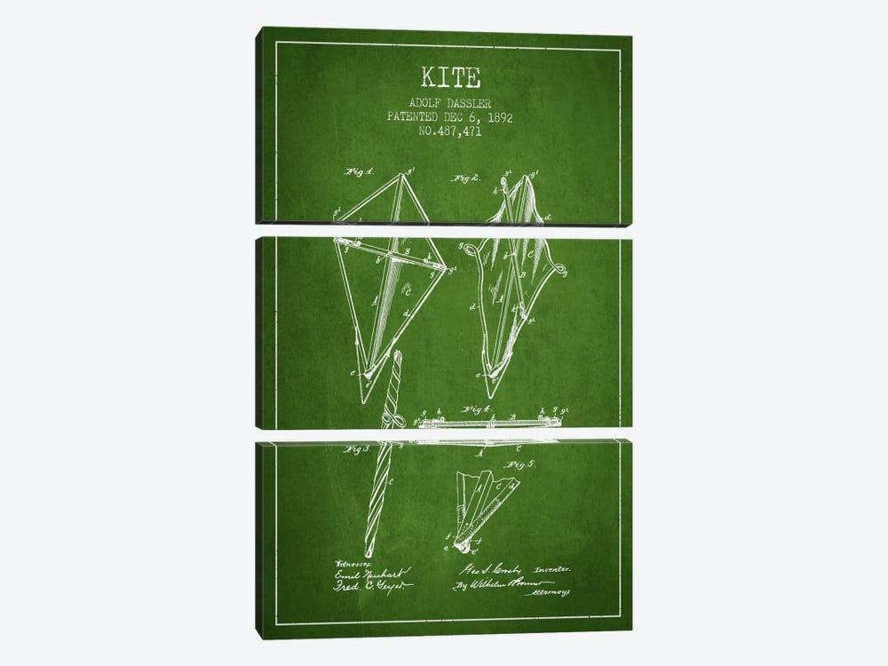 Kite Green Patent Blueprint by Aged Pixel 3-piece Canvas Art Print