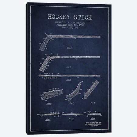 Hockey Stick Navy Blue Patent Blueprint Canvas Print #ADP380} by Aged Pixel Canvas Artwork