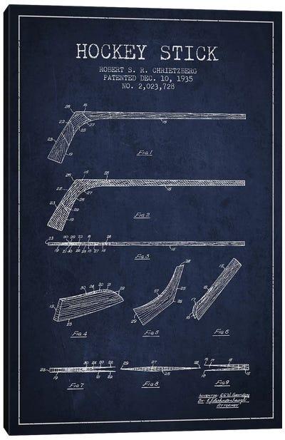 Hockey Stick Navy Blue Patent Blueprint Canvas Print #ADP380