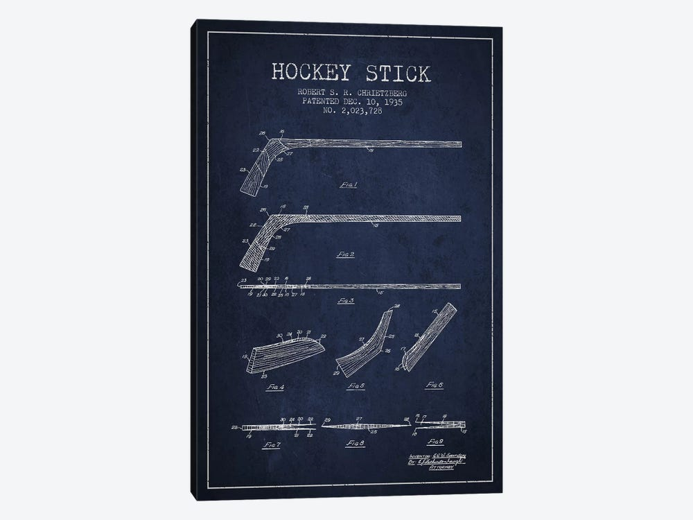 Hockey Stick Navy Blue Patent Blueprint by Aged Pixel 1-piece Canvas Print