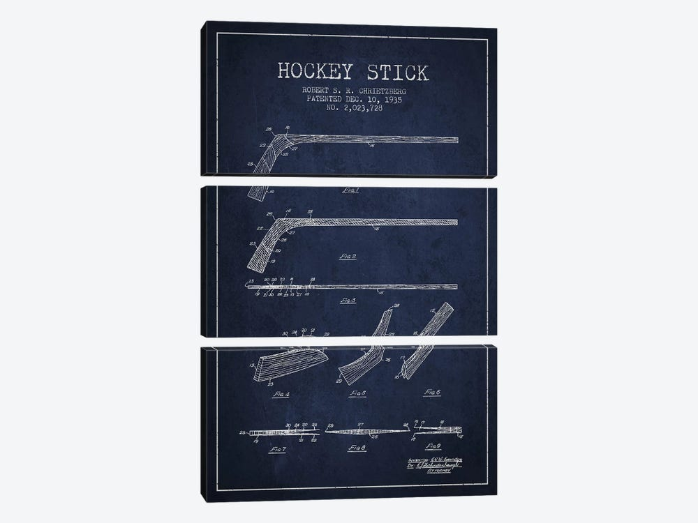 Hockey Stick Navy Blue Patent Blueprint by Aged Pixel 3-piece Art Print