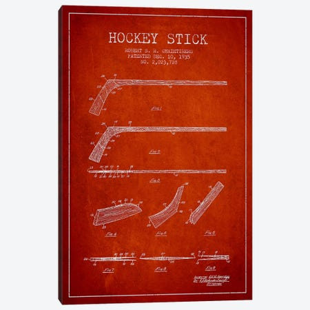 Hockey Stick Red Patent Blueprint Canvas Print #ADP381} by Aged Pixel Canvas Wall Art