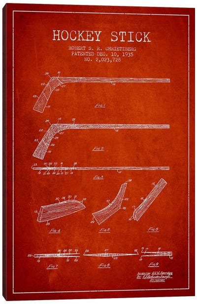 Hockey Stick Red Patent Blueprint Canvas Art Print