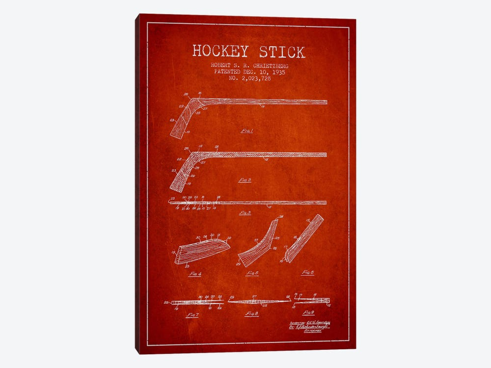 Hockey Stick Red Patent Blueprint by Aged Pixel 1-piece Canvas Art