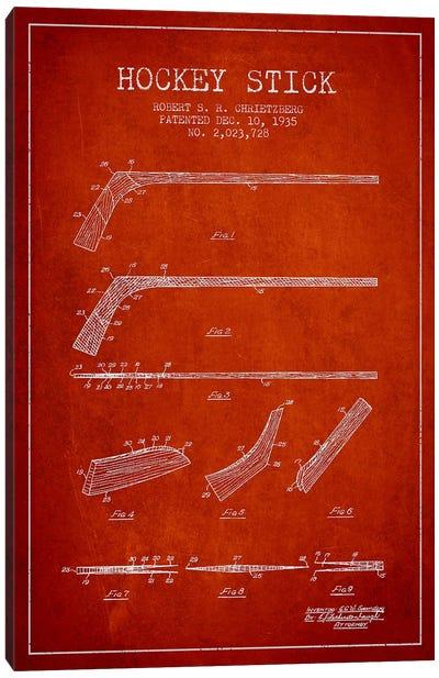Hockey Stick Red Patent Blueprint Canvas Art Print